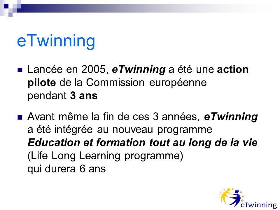 eTwinning Lancée en 2005, eTwinning a été une action pilote de la Commission européenne pendant 3 ans Avant même la fin de ces 3 années, eTwinning a été intégrée au nouveau programme Education et formation tout au long de la vie (Life Long Learning programme) qui durera 6 ans