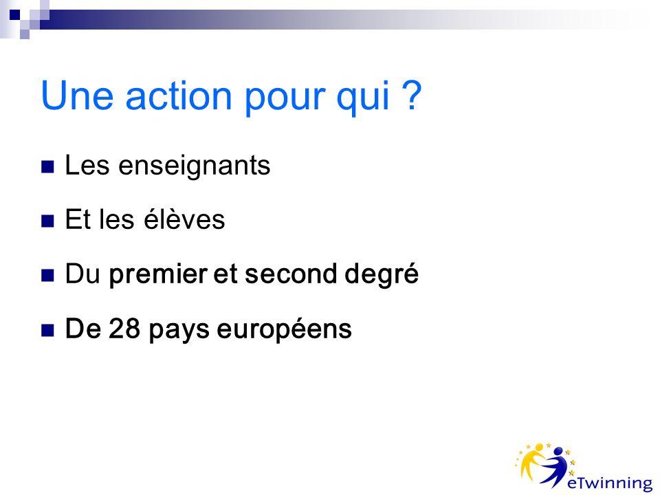 Une action pour qui Les enseignants Et les élèves Du premier et second degré De 28 pays européens