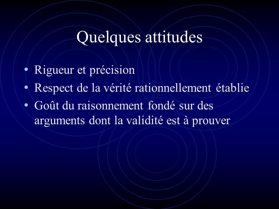 Quelques attitudes Rigueur et précision Respect de la vérité rationnellement établie Goût du raisonnement fondé sur des arguments dont la validité est à prouver
