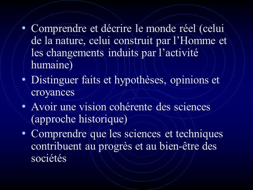 Comprendre et décrire le monde réel (celui de la nature, celui construit par lHomme et les changements induits par lactivité humaine) Distinguer faits et hypothèses, opinions et croyances Avoir une vision cohérente des sciences (approche historique) Comprendre que les sciences et techniques contribuent au progrès et au bien-être des sociétés
