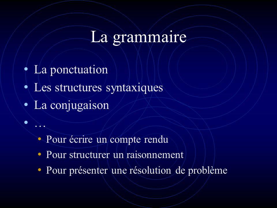La grammaire La ponctuation Les structures syntaxiques La conjugaison … Pour écrire un compte rendu Pour structurer un raisonnement Pour présenter une résolution de problème