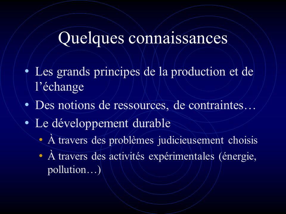 Quelques connaissances Les grands principes de la production et de léchange Des notions de ressources, de contraintes… Le développement durable À travers des problèmes judicieusement choisis À travers des activités expérimentales (énergie, pollution…)