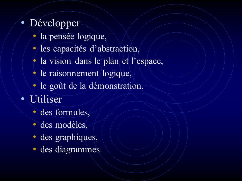 Développer la pensée logique, les capacités dabstraction, la vision dans le plan et lespace, le raisonnement logique, le goût de la démonstration.