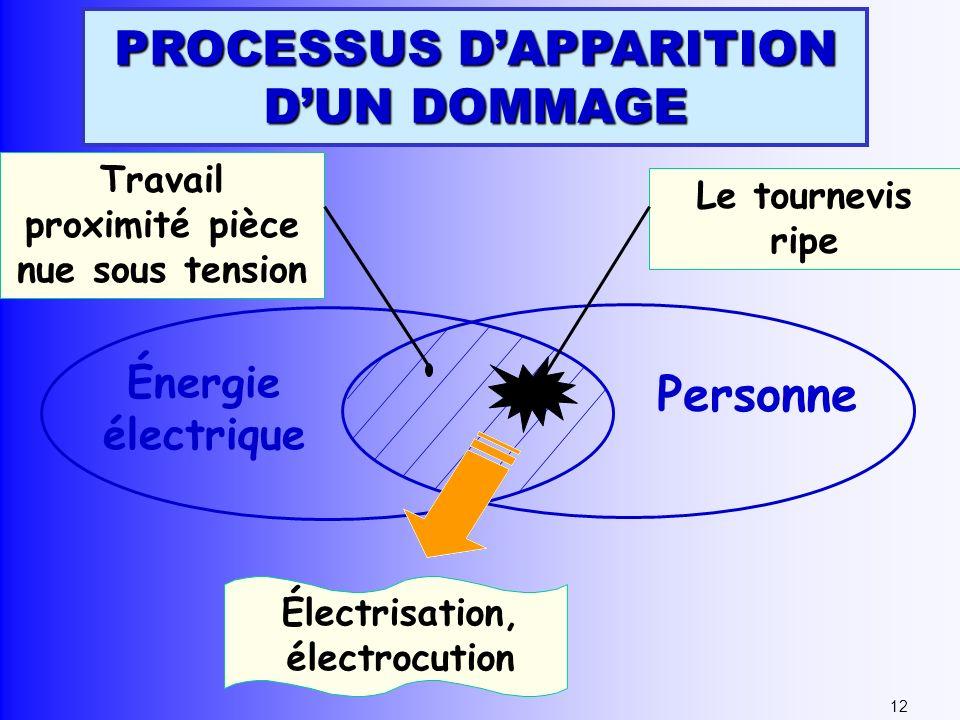 Énergie électrique Personne Travail proximité pièce nue sous tension Le tournevis ripe Électrisation, électrocution 12 PROCESSUS DAPPARITION DUN DOMMA