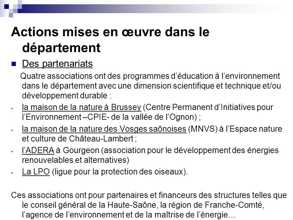 Actions mises en œuvre dans le département Des partenariats Quatre associations ont des programmes déducation à lenvironnement dans le département ave