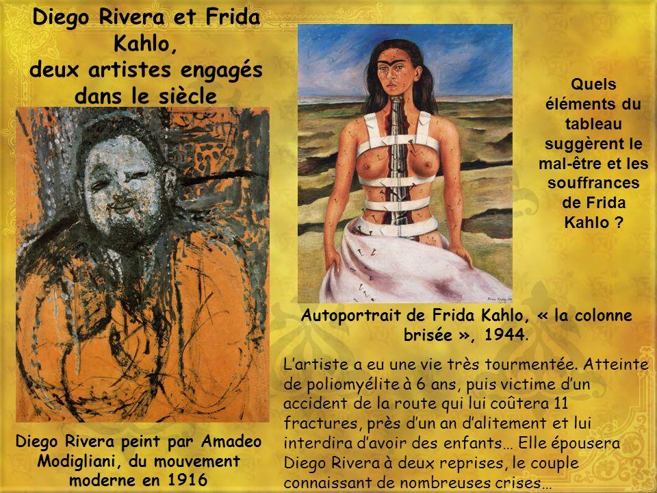 Diego Rivera et Frida Kahlo, deux artistes engagés dans le siècle Diego Rivera peint par Amadeo Modigliani, du mouvement moderne en 1916 Autoportrait
