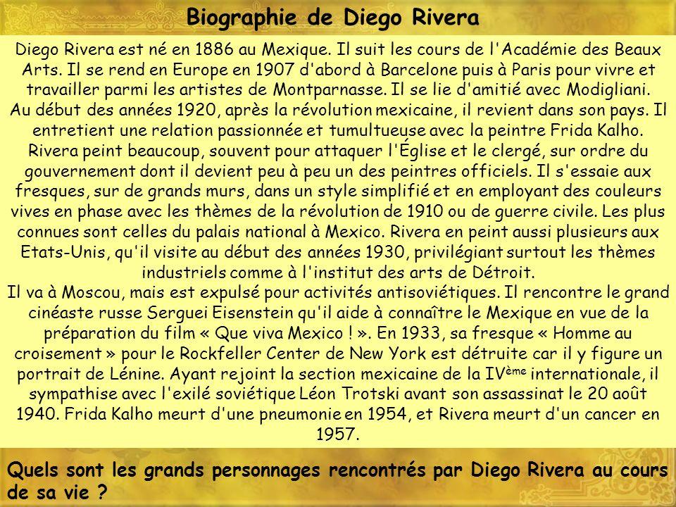 Diego Rivera est né en 1886 au Mexique. Il suit les cours de l'Académie des Beaux Arts. Il se rend en Europe en 1907 d'abord à Barcelone puis à Paris