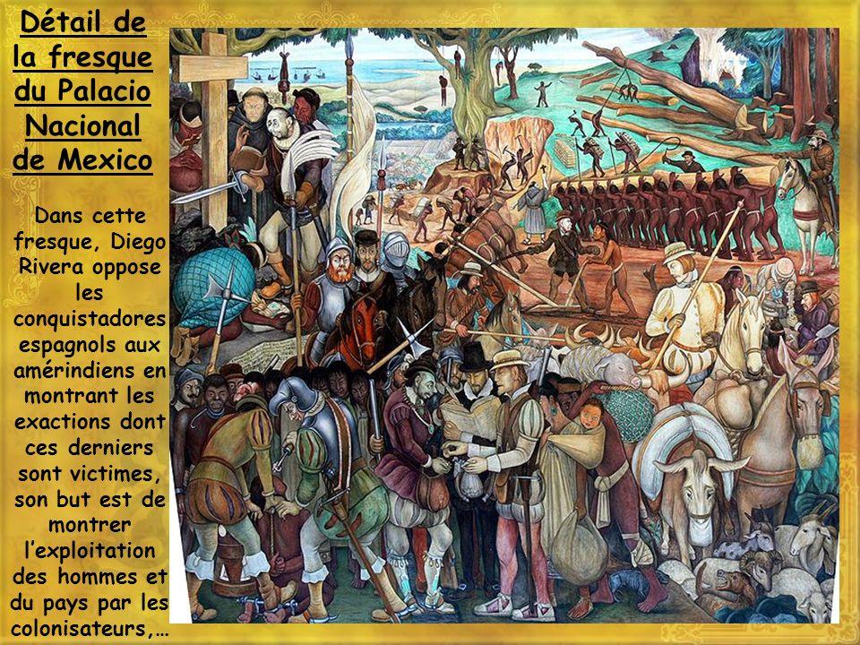 Dans cette fresque, Diego Rivera oppose les conquistadores espagnols aux amérindiens en montrant les exactions dont ces derniers sont victimes, son bu