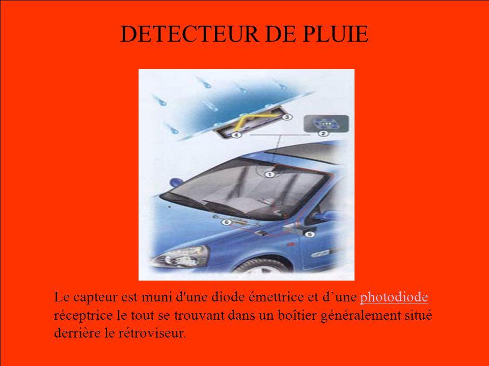 DETECTEUR DE PLUIE Le capteur est muni d'une diode émettrice et dune photodiode réceptrice le tout se trouvant dans un boîtier généralement situé derr