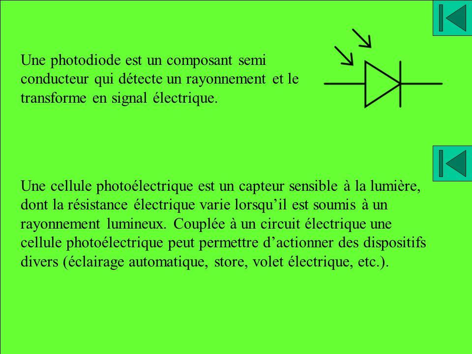 Une photodiode est un composant semi conducteur qui détecte un rayonnement et le transforme en signal électrique. Une cellule photoélectrique est un c