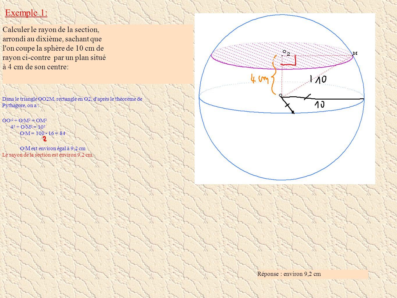 Exemple 1: Calculer le rayon de la section, arrondi au dixième, sachant que l'on coupe la sphère de 10 cm de rayon ci-contre par un plan situé à 4 cm