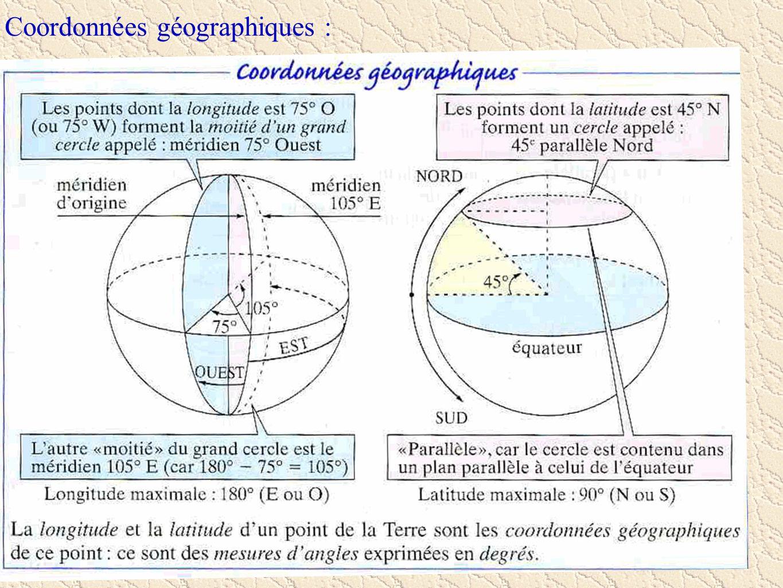 Exemple : Les coordonnées géographiques de Valdoie sont 47,4°N et 6,5°E.