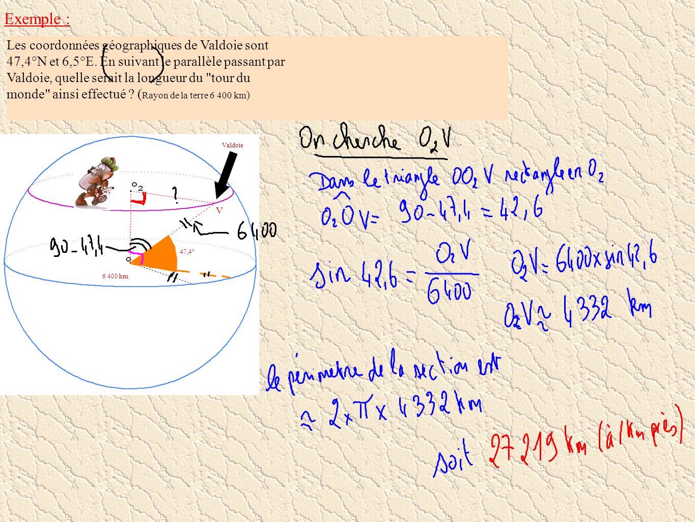 Exemple : Les coordonnées géographiques de Valdoie sont 47,4°N et 6,5°E. En suivant le parallèle passant par Valdoie, quelle serait la longueur du