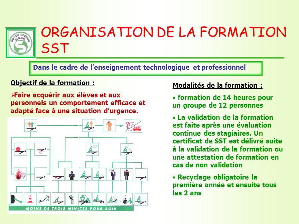 ORGANISATION DE LA FORMATION SST Dans le cadre de lenseignement technologique et professionnel Objectif de la formation : Faire acquérir aux élèves et
