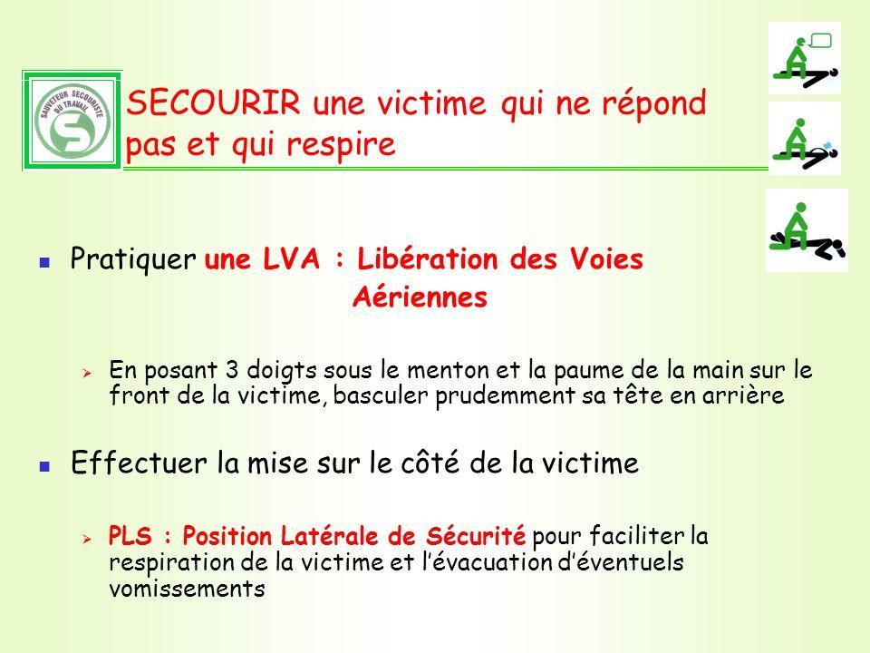 SECOURIR une victime qui ne répond pas et qui respire Pratiquer une LVA : Libération des Voies Aériennes En posant 3 doigts sous le menton et la paume