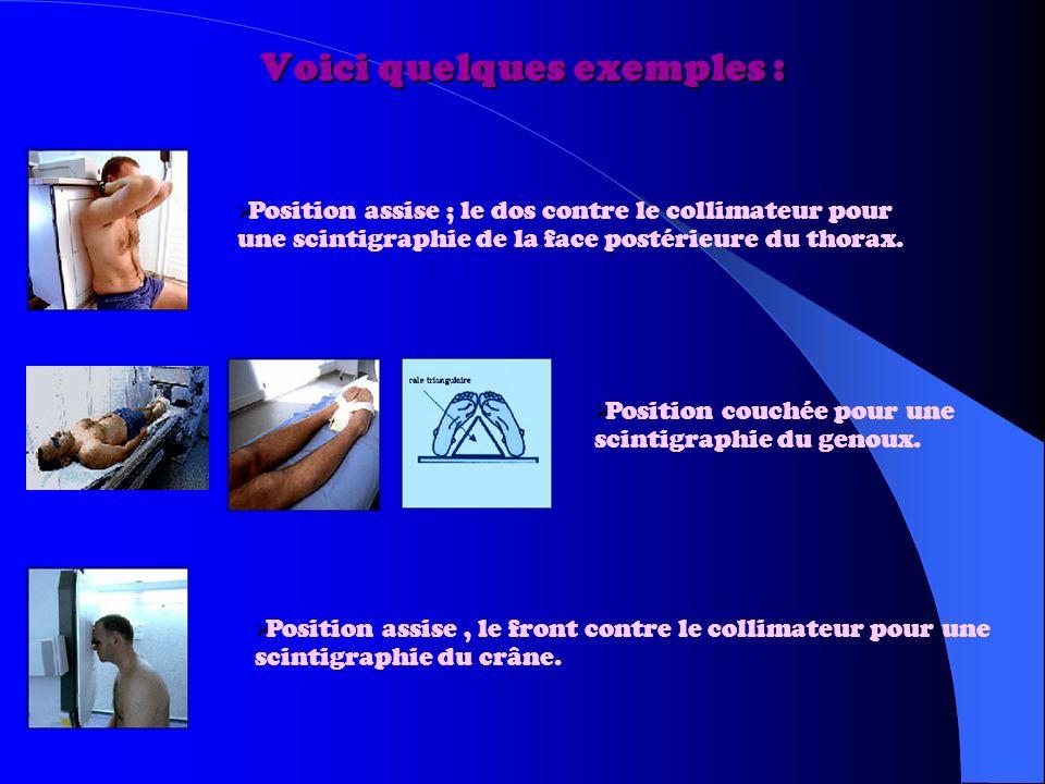 Voici quelques exemples : Position assise ; le dos contre le collimateur pour une scintigraphie de la face postérieure du thorax.