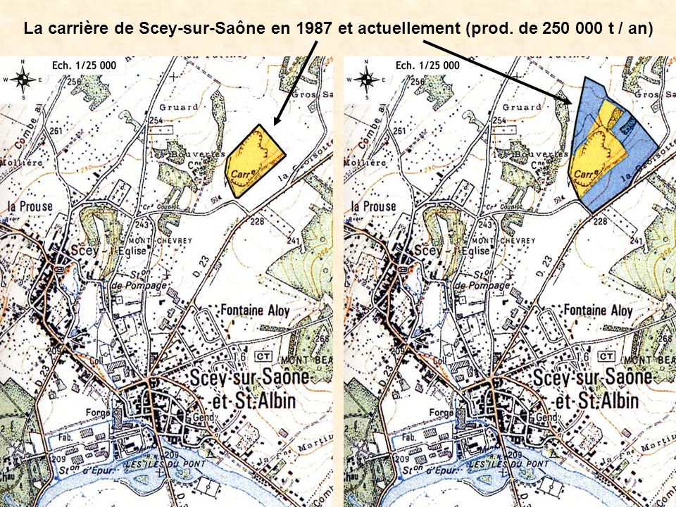 La carrière de Scey-sur-Saône en 1987 et actuellement (prod. de 250 000 t / an)