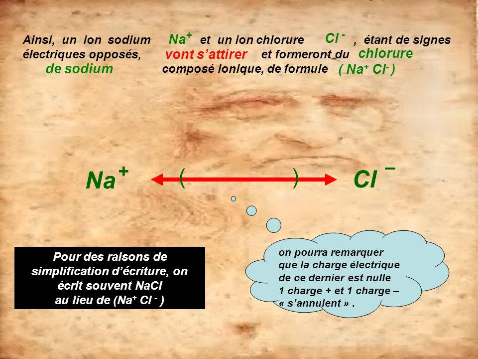 Ainsi, un ion sodium et un ion chlorure, étant de signes électriques opposés, et formeront du composé ionique, de formule Na + Cl – Na + Cl - vont sat