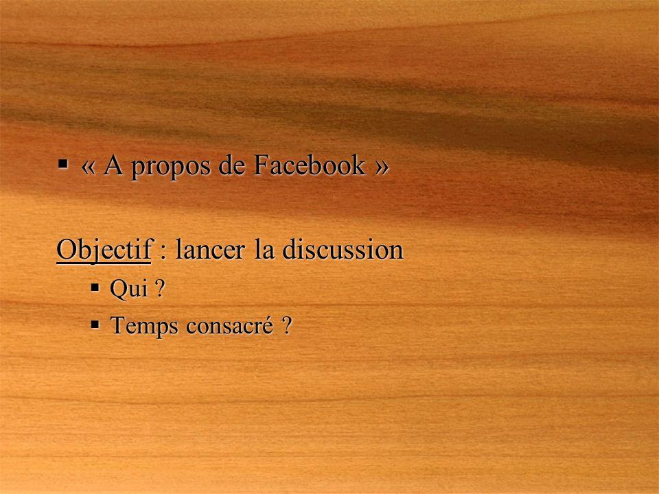 « A propos de Facebook » Objectif : lancer la discussion Qui .