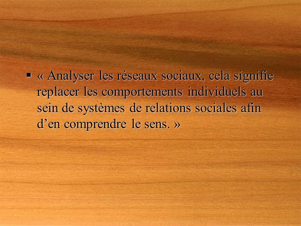 « Analyser les réseaux sociaux, cela signifie replacer les comportements individuels au sein de systèmes de relations sociales afin den comprendre le sens.