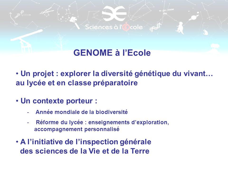 GENOME à lEcole Un projet : explorer la diversité génétique du vivant… au lycée et en classe préparatoire Un contexte porteur : - Année mondiale de la