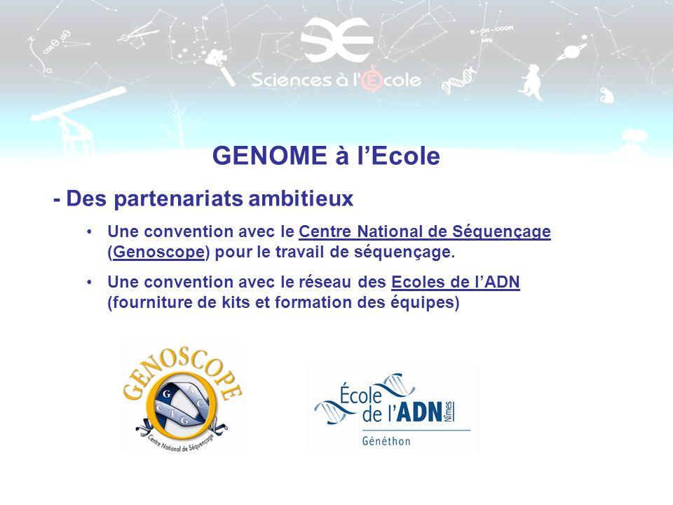 GENOME à lEcole - Des partenariats ambitieux Une convention avec le Centre National de Séquençage (Genoscope) pour le travail de séquençage. Une conve
