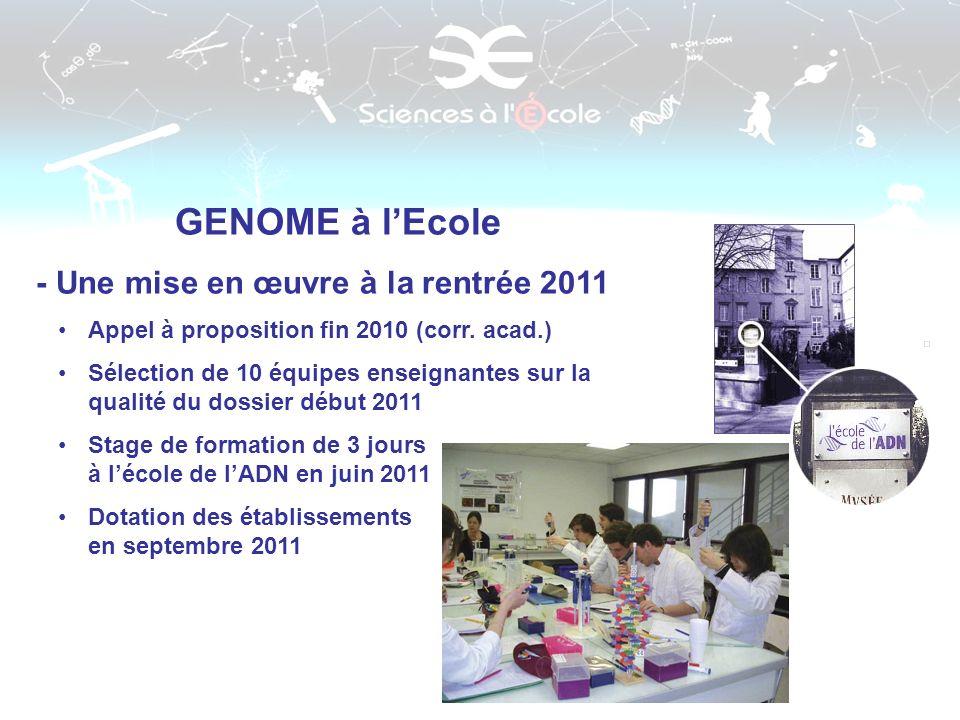 GENOME à lEcole - Une mise en œuvre à la rentrée 2011 Appel à proposition fin 2010 (corr. acad.) Sélection de 10 équipes enseignantes sur la qualité d