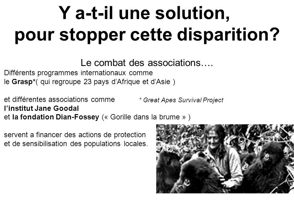 Y a-t-il une solution, pour stopper cette disparition? Le combat des associations…. Différents programmes internationaux comme le Grasp*( qui regroupe