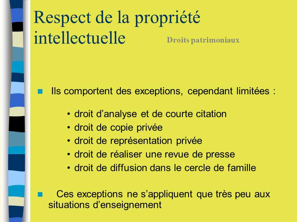 Ils comportent des exceptions, cependant limitées : droit danalyse et de courte citation droit de copie privée droit de représentation privée droit de