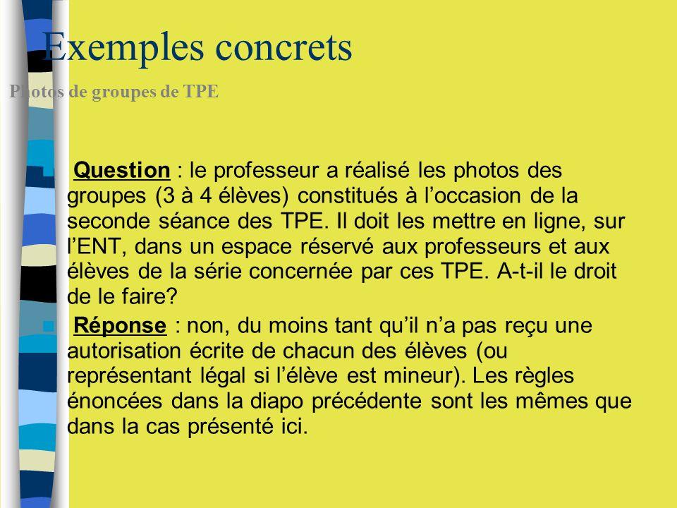 Exemples concrets Question : le professeur a réalisé les photos des groupes (3 à 4 élèves) constitués à loccasion de la seconde séance des TPE.