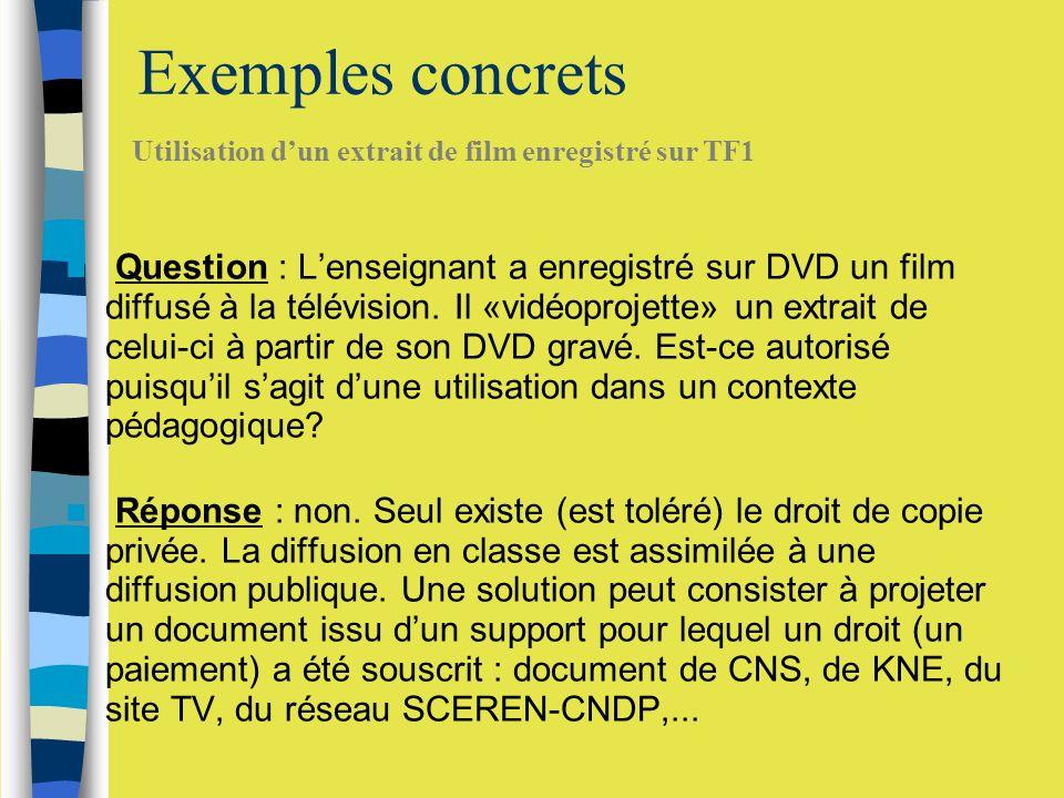 Exemples concrets Question : Lenseignant a enregistré sur DVD un film diffusé à la télévision.