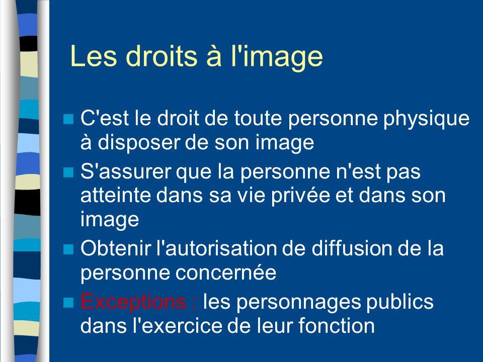 Les droits à l'image C'est le droit de toute personne physique à disposer de son image S'assurer que la personne n'est pas atteinte dans sa vie privée