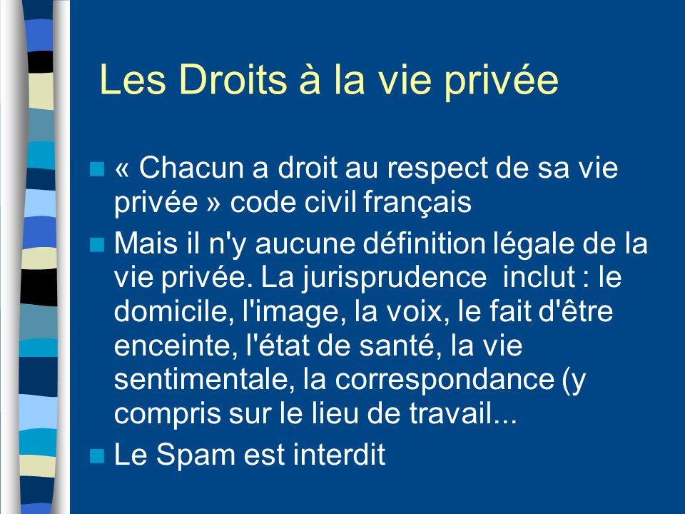 Les Droits à la vie privée « Chacun a droit au respect de sa vie privée » code civil français Mais il n'y aucune définition légale de la vie privée. L