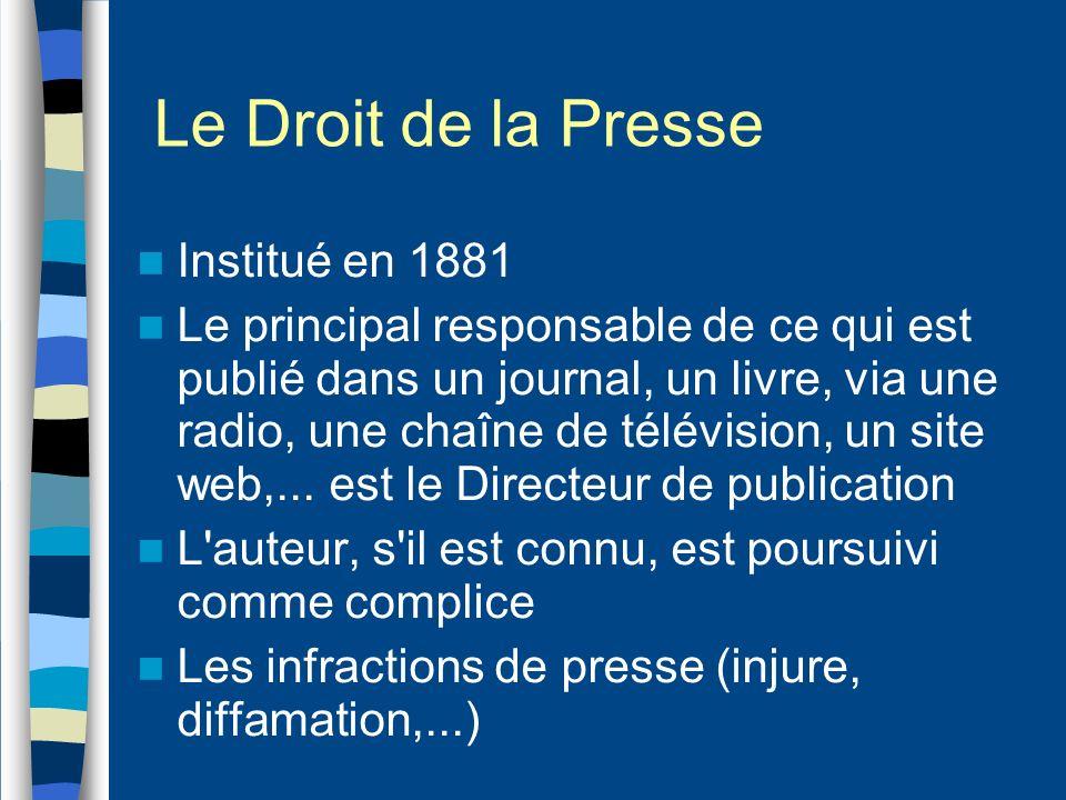 Le Droit de la Presse Institué en 1881 Le principal responsable de ce qui est publié dans un journal, un livre, via une radio, une chaîne de télévisio