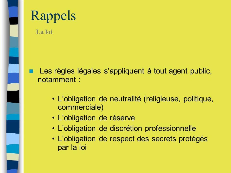Rappels Les règles légales sappliquent à tout agent public, notamment : Lobligation de neutralité (religieuse, politique, commerciale) Lobligation de