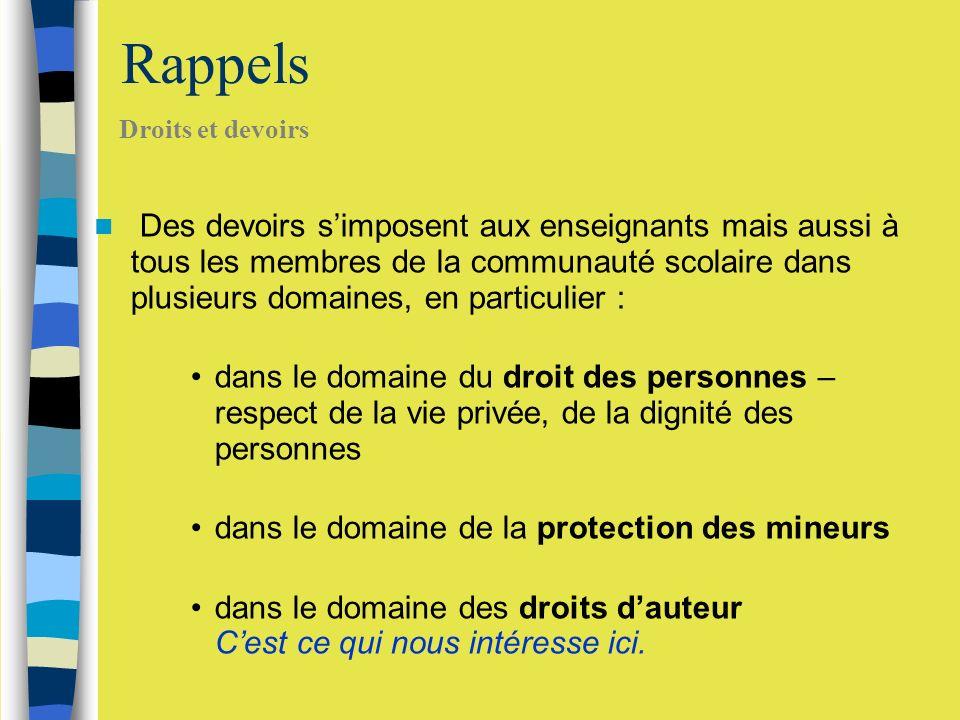 Les TICE et le Droit Respect de la propriété intellectuelle