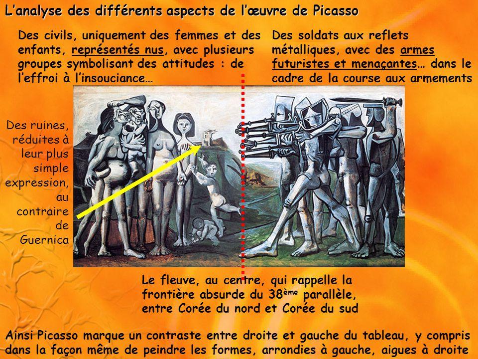 Les différentes interprétations de lœuvre de Picasso Le tableau est une dénonciation de la guerre et sinscrit dans la montée du mouvement pacifiste, dans le contexte de la GUERRE FROIDE.