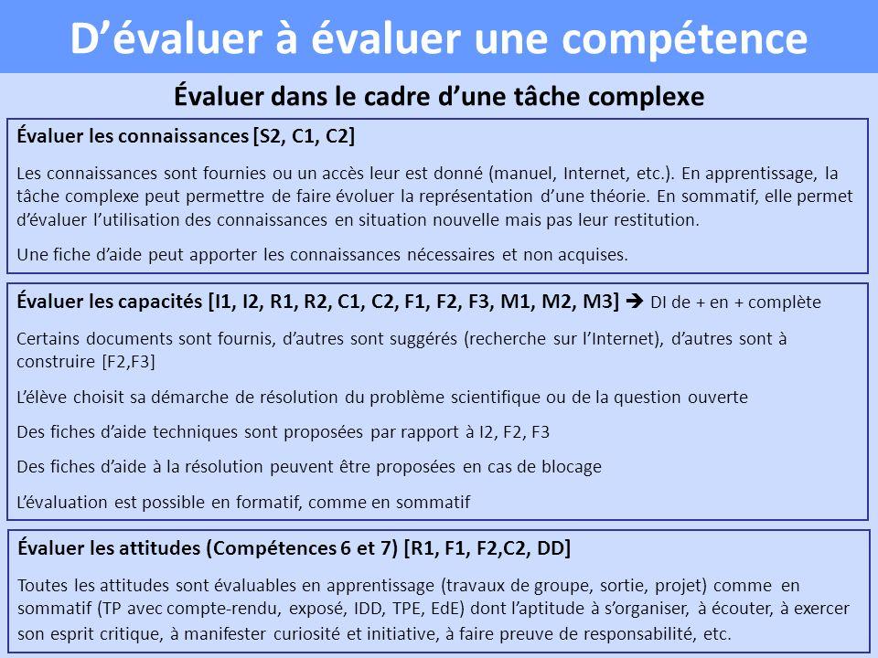 Dévaluer à évaluer une compétence Évaluer dans le cadre dune tâche complexe Évaluer les connaissances [S2, C1, C2] Les connaissances sont fournies ou un accès leur est donné (manuel, Internet, etc.).