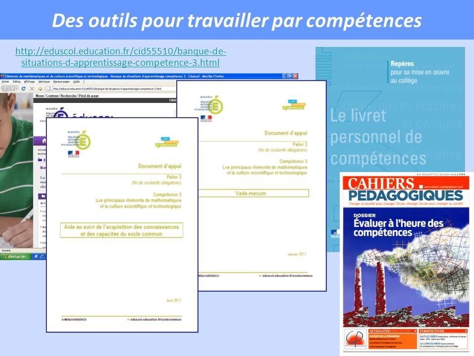 Des outils pour travailler par compétences http://eduscol.education.fr/cid55510/banque-de- situations-d-apprentissage-competence-3.html