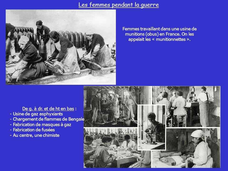 Les femmes pendant la guerre Femmes travaillant dans une usine de munitions (obus) en France. On les appelait les « munitionnettes ». De g. à dr. et d