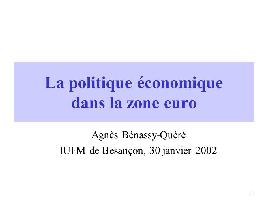 1 La politique économique dans la zone euro Agnès Bénassy-Quéré IUFM de Besançon, 30 janvier 2002