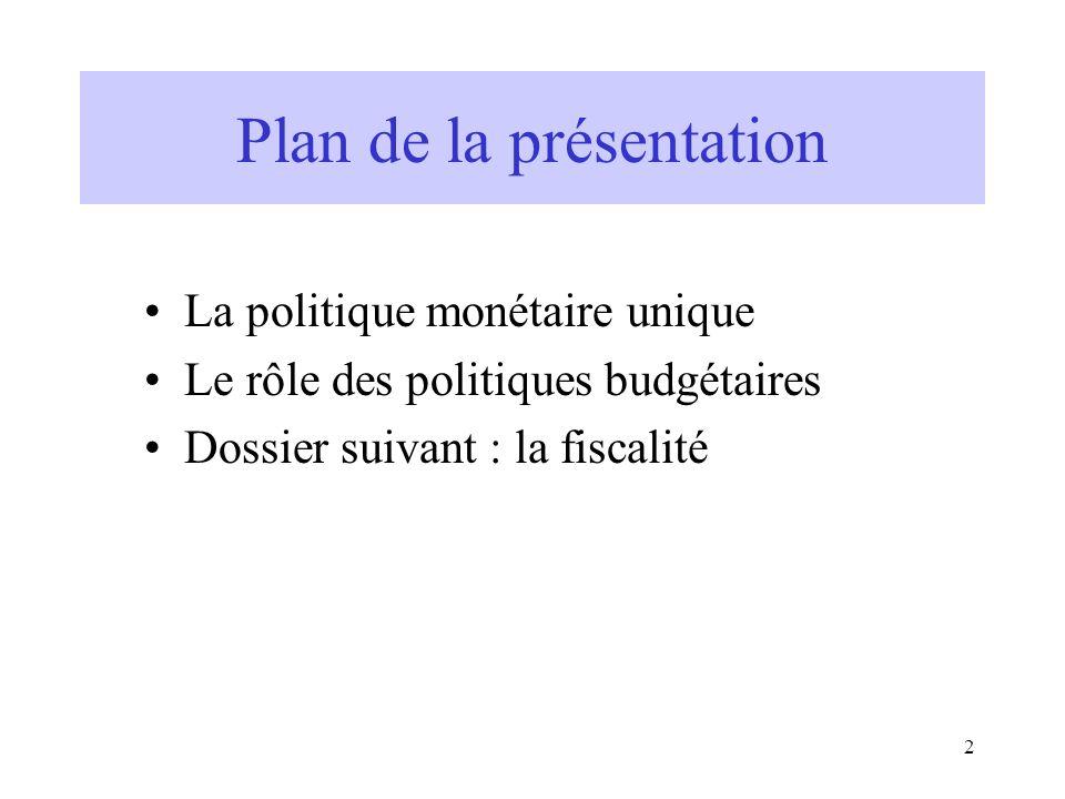 2 Plan de la présentation La politique monétaire unique Le rôle des politiques budgétaires Dossier suivant : la fiscalité