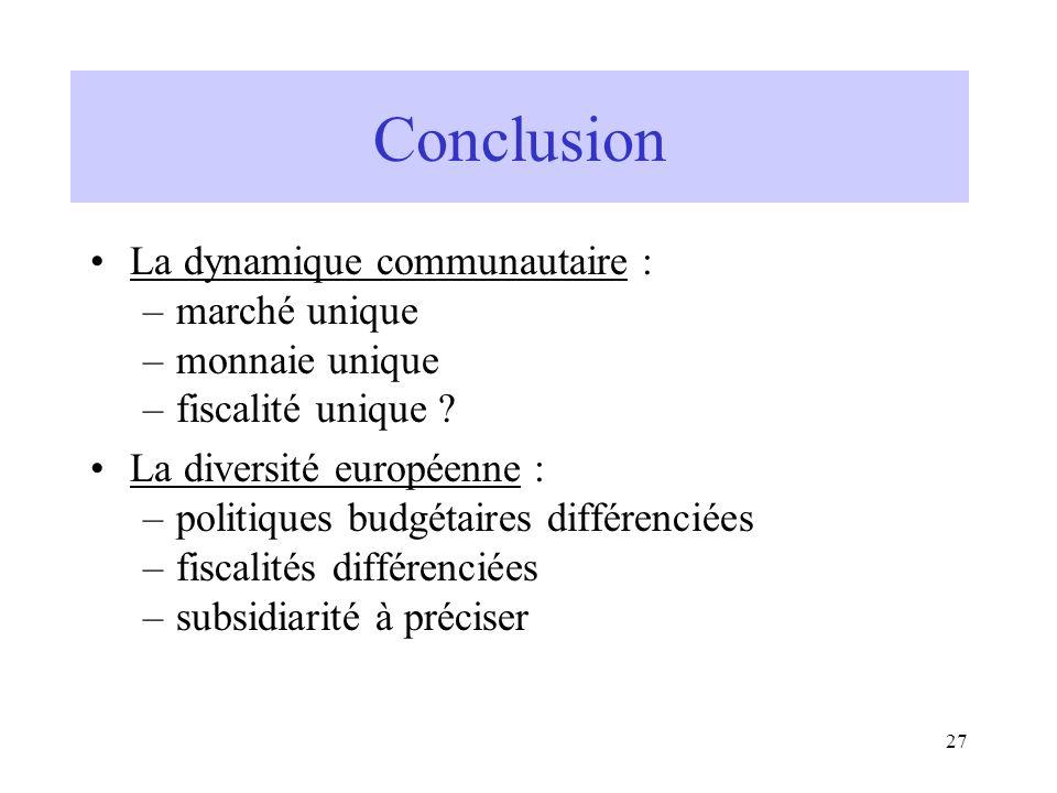 27 Conclusion La dynamique communautaire : –marché unique –monnaie unique –fiscalité unique .