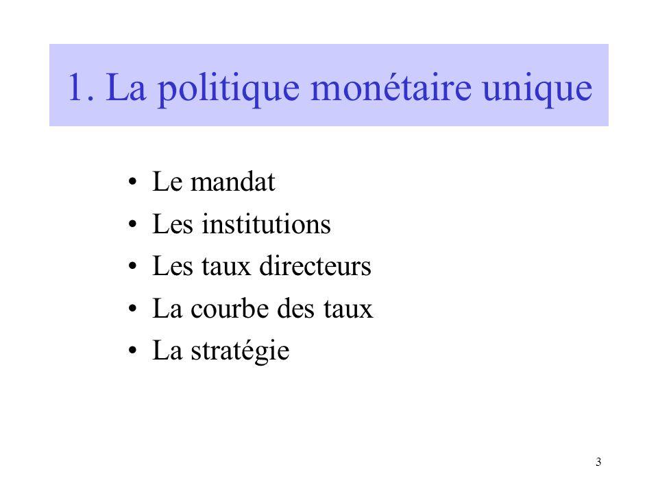 3 1. La politique monétaire unique Le mandat Les institutions Les taux directeurs La courbe des taux La stratégie