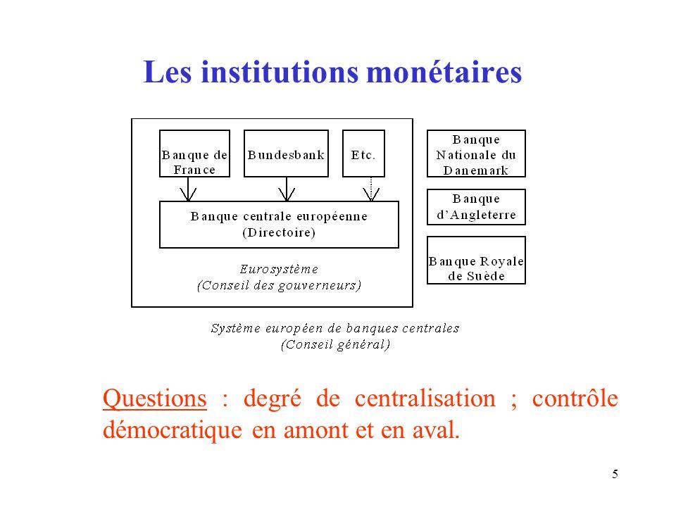 5 Les institutions monétaires Questions : degré de centralisation ; contrôle démocratique en amont et en aval.
