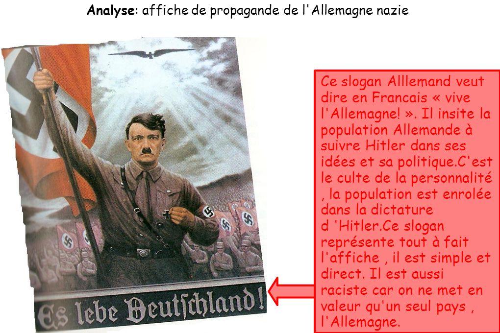 Analyse: affiche de propagande de l Allemagne nazie Ce slogan Alllemand veut dire en Francais « vive l Allemagne.