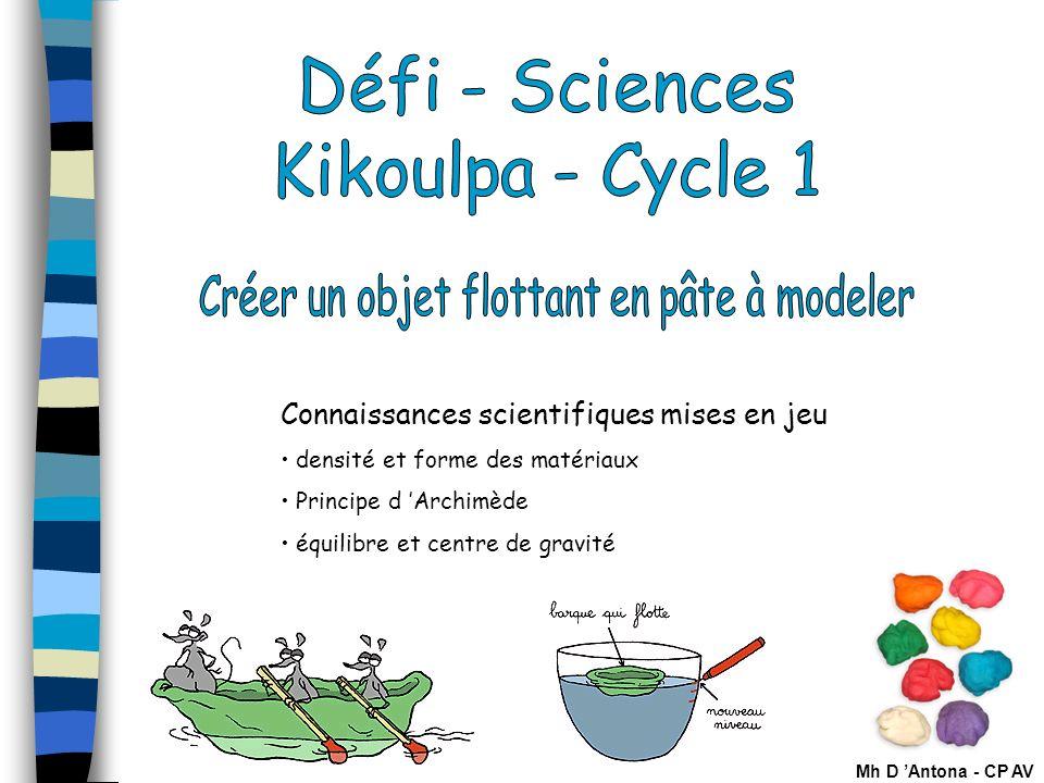 1 Connaissances scientifiques mises en jeu densité et forme des matériaux Principe d Archimède équilibre et centre de gravité Mh D Antona - CP AV