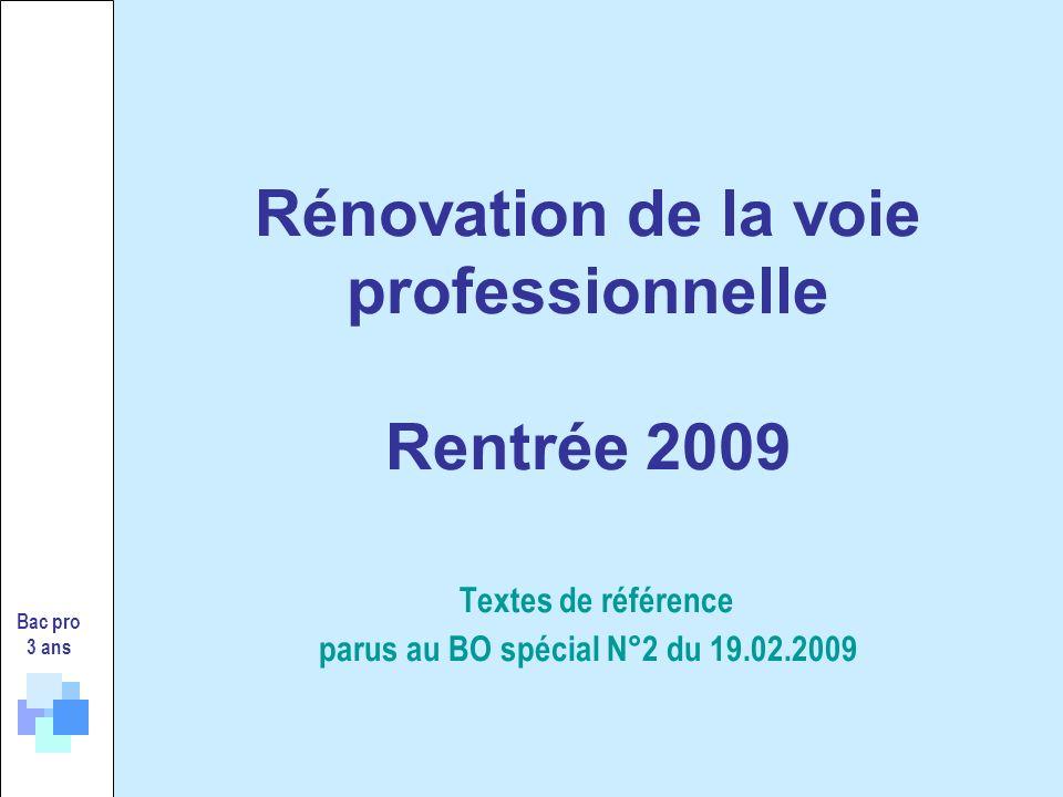 Rénovation de la voie professionnelle Rentrée 2009 Textes de référence parus au BO spécial N°2 du 19.02.2009 Bac pro 3 ans