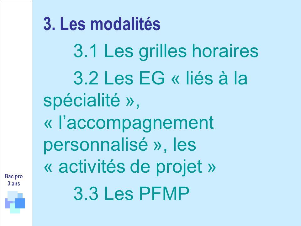 3. Les modalités 3.1 Les grilles horaires 3.2 Les EG « liés à la spécialité », « laccompagnement personnalisé », les « activités de projet » 3.3 Les P
