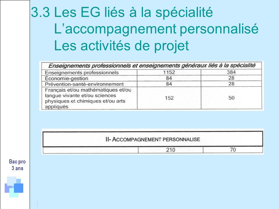 3.3 Les EG liés à la spécialité Laccompagnement personnalisé Les activités de projet